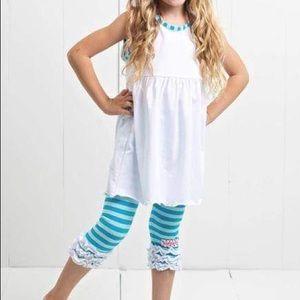 Ruffle Girl Matching Sets - Ruffle Girl White & Aqua Ruffle Legging Capri Set